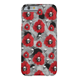 Grey and red skulls with poppies pattern barely there iPhone 6 case
