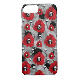 Grey and red skulls with poppies pattern iPhone 8/7 case