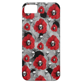 Grey and red skulls with poppies pattern iPhone SE/5/5s case