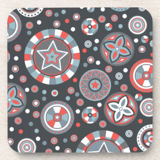Grey and Red Starry Circles Coaster