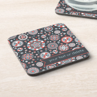 Grey and Red Starry Circles with banner Beverage Coaster