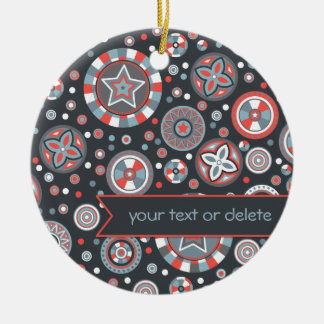 Grey and Red Starry Circles with banner Christmas Ornament