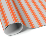 [ Thumbnail: Grey and Red Striped Pattern Wrapping Paper ]