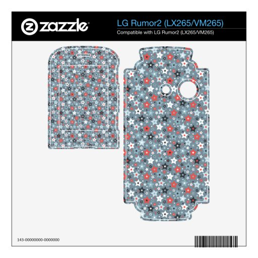 Grey and Red tiny stars Decals For LG Rumor2