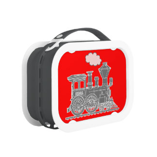 Grey and red train kids named lunch box