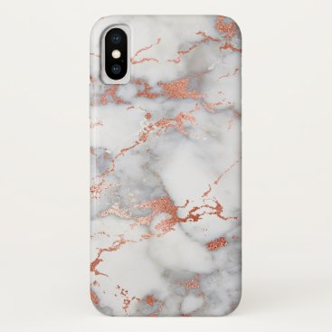grey and rose gold faux marble stone iPhone x case