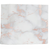 grey and rose gold marble 3 ring binder