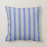 [ Thumbnail: Grey and Royal Blue Lines Throw Pillow ]