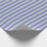 [ Thumbnail: Grey and Royal Blue Lines Wrapping Paper ]