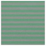 [ Thumbnail: Grey and Sea Green Stripes Fabric ]