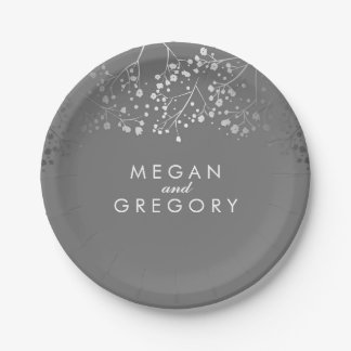 Grey and Silver Baby's Breath Wedding Paper Plate