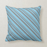 [ Thumbnail: Grey and Sky Blue Pattern Throw Pillow ]