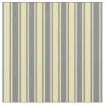 [ Thumbnail: Grey and Tan Stripes/Lines Pattern Fabric ]