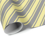 [ Thumbnail: Grey and Tan Stripes/Lines Pattern Wrapping Paper ]