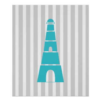 Grey and Teal Striped Nautical Lighthouse Poster