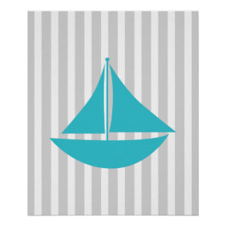 Grey and Teal Striped Nautical Ship Poster
