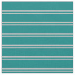 [ Thumbnail: Grey and Teal Stripes/Lines Pattern Fabric ]