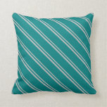 [ Thumbnail: Grey and Teal Stripes/Lines Pattern Throw Pillow ]
