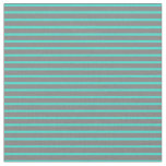 [ Thumbnail: Grey and Turquoise Colored Lines Fabric ]