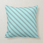 [ Thumbnail: Grey and Turquoise Colored Stripes Pattern Pillow ]