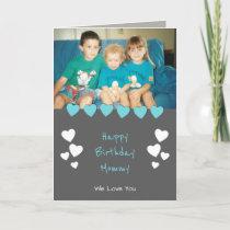 Grey and turquoise Mum photo Birthday Card