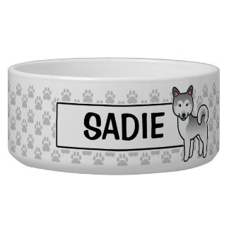 Grey And White Alaskan Malamute Cartoon Dog Bowl