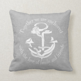 Grey and White Anchor Monogram Throw Pillow