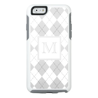 Grey and White Argyle Monogrammed OtterBox iPhone 6/6s Case