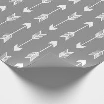 Grey and White Arrows Pattern Wrapping Paper