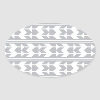 Grey and White Arrows Oval Sticker