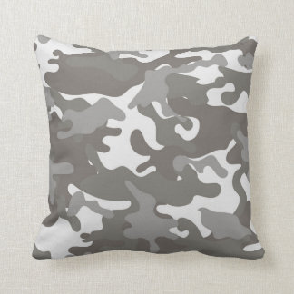 Grey and White Camouflage Throw Pillow