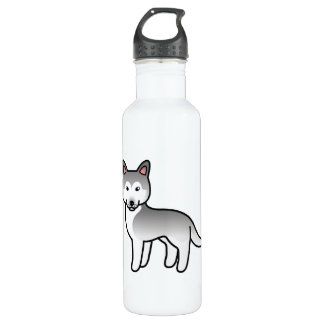 Grey And White Cartoon Siberian Husky Dog Stainless Steel Water Bottle