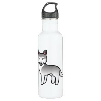 Grey And White Cartoon Siberian Husky Stainless Steel Water Bottle