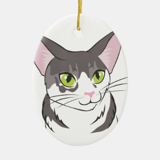 Grey and White Cat Ceramic Ornament