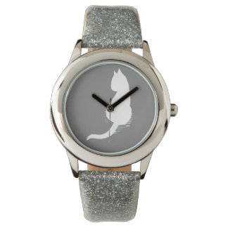 Grey and White Cat Silhouette Wristwatch