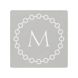 Grey and White Chain Link Ring Circle Monogram Metal Print