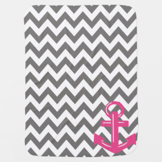 Grey and White Chevron Anchor Throw Blanket Baby Blanket