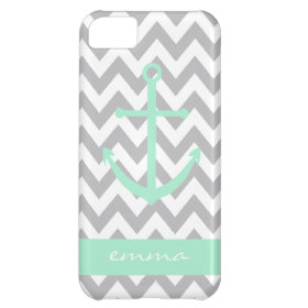 Grey and White Chevron Mint Anchor Monogram Case Cover For iPhone 5C