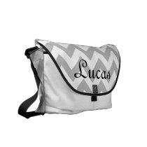 Grey and White Chevron Modern Diaper Bag