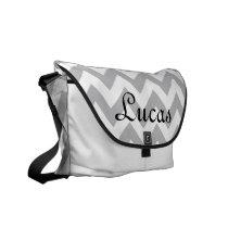 Grey and White Chevron Modern Diaper Bag