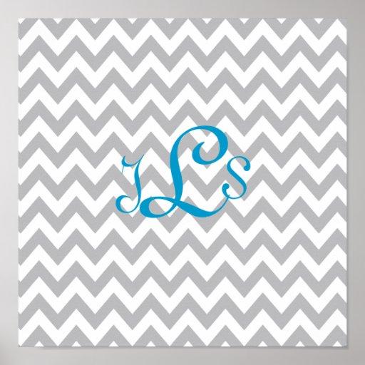 Grey and White Chevron Monogram Nursery Print