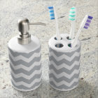 Grey and White Chevron Stripe Soap Dispenser And Toothbrush Holder