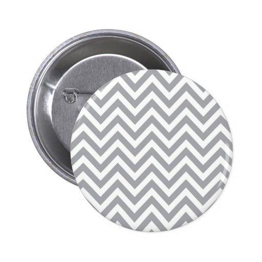 Grey and White Chevron  Zigzag Pattern Pinback Button