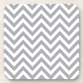 Grey and White Chevron  Zigzag Pattern Drink Coaster