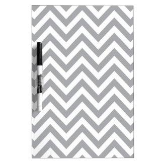 Grey and White Chevron  Zigzag Pattern Dry-Erase Board