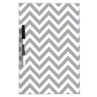 Grey and White Chevron  Zigzag Pattern Dry Erase Board