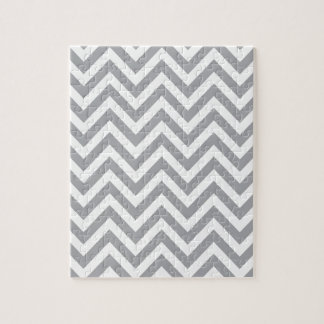 Grey and White Chevron  Zigzag Pattern Jigsaw Puzzle