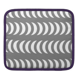 Grey And White Crescent Moons iPad Sleeves