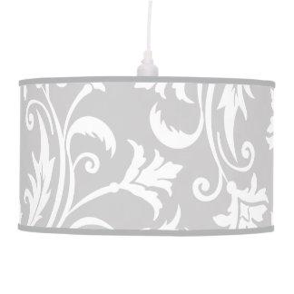 Grey and White Damask Floral Pattern Hanging Lamp