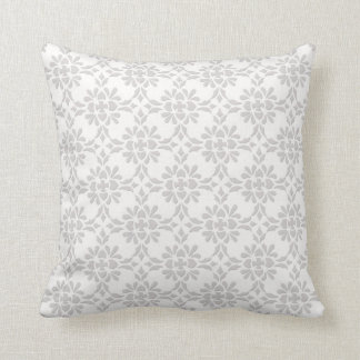 Grey and White Damask Style Pattern Throw Pillow